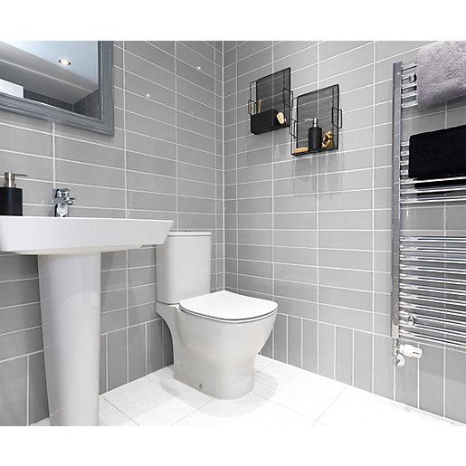 wickes soho light grey ceramic wall tile 300 x 100mm