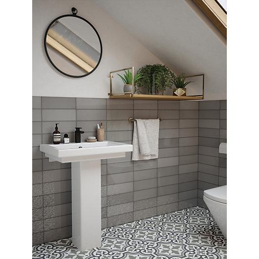 wickes soho steel ceramic wall tile 300 x 100mm