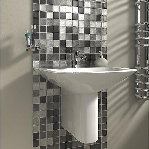 wickes black silver leaf glass mosaic tile 300 x 300mm
