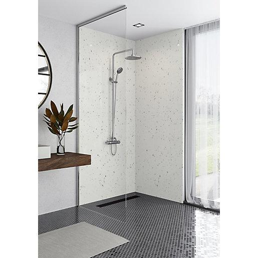 mermaid elite quartzo bianco tongue groove single shower panel