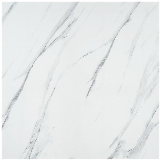 calacatta gloss white glazed porcelain tile 605 x 605mm sample