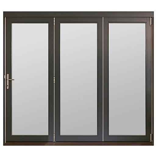 jeld wen bedgbury finished solid hardwood patio bifold door set grey