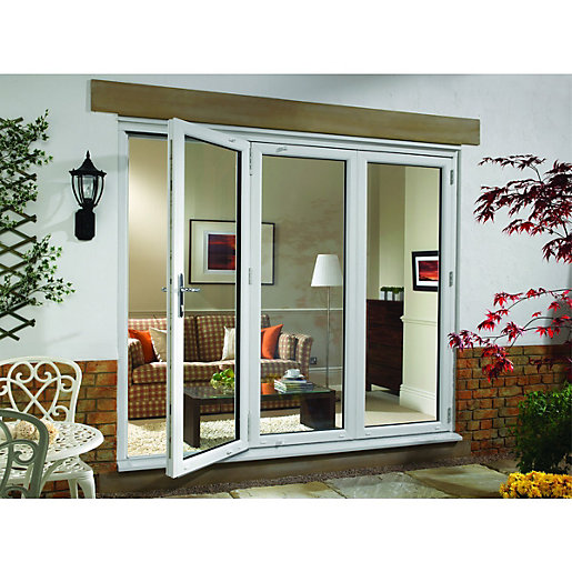 wickes millbrook upvc external bi fold door set white right opening