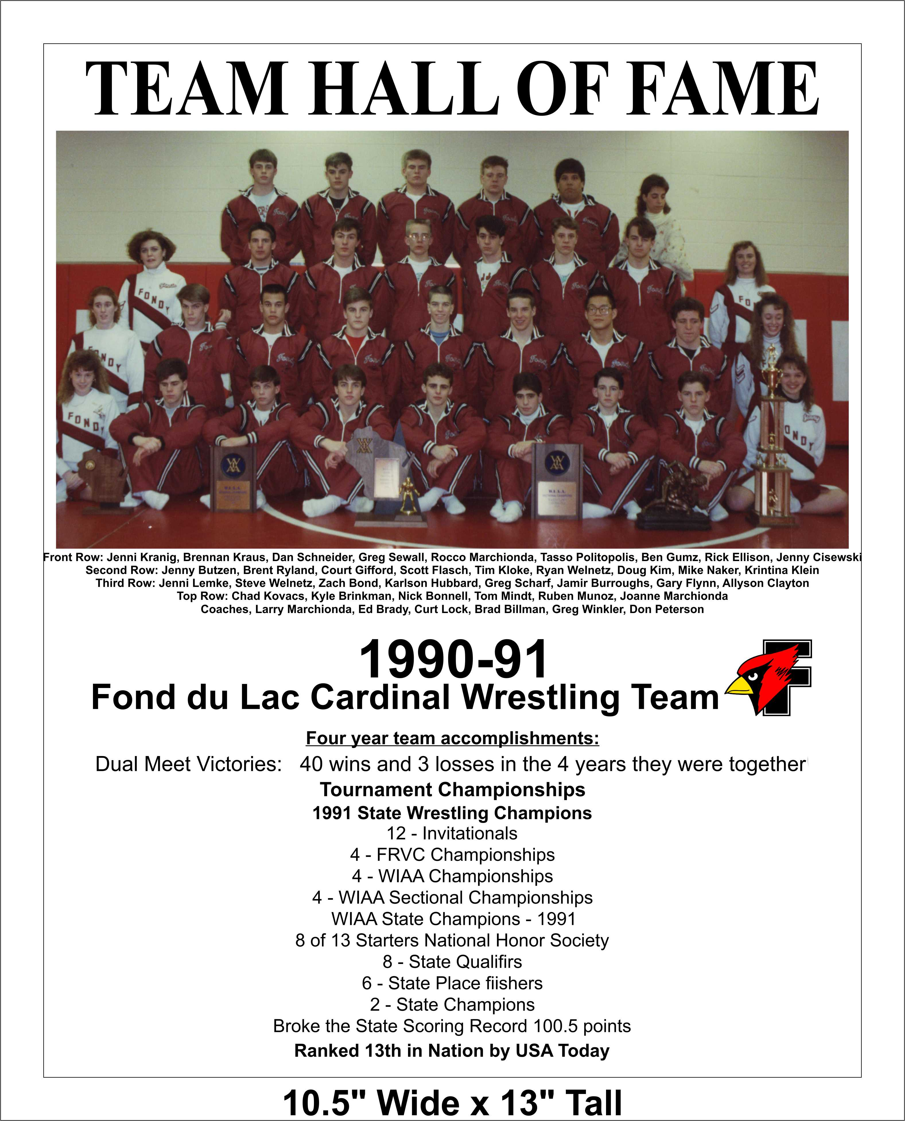 Hall Of Fame 2014 Team 1990 91 WIAA State Wrestling Champions Cardinal Athletic Alumni