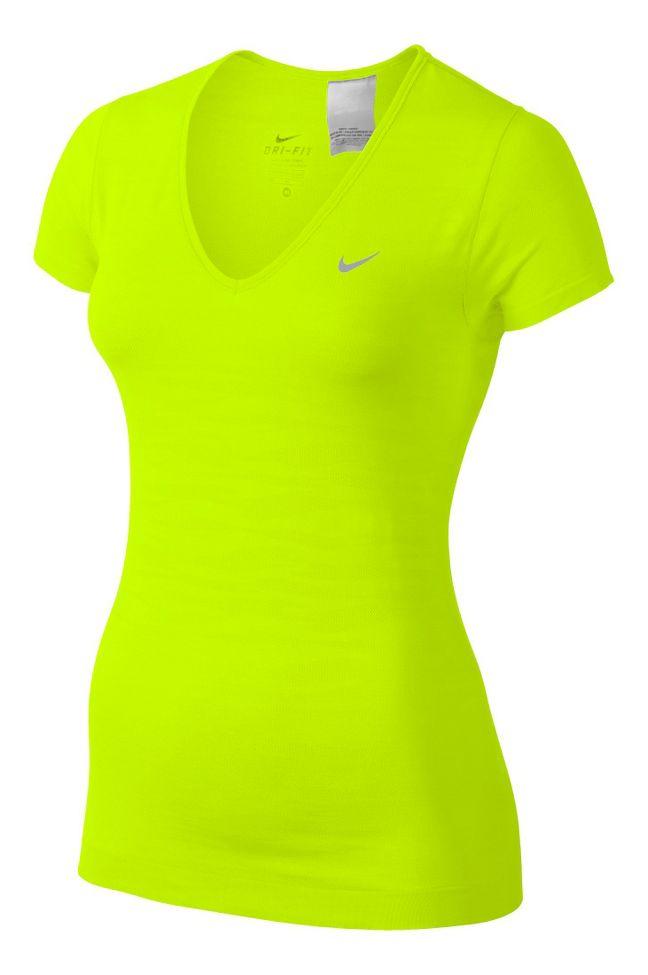 Womens Nike Dri-Fit Knit Texture V-Neck Short Sleeve ...