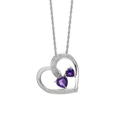 Argentium Silver Diamond Amp Amethyst Heart Pendant HSamuel