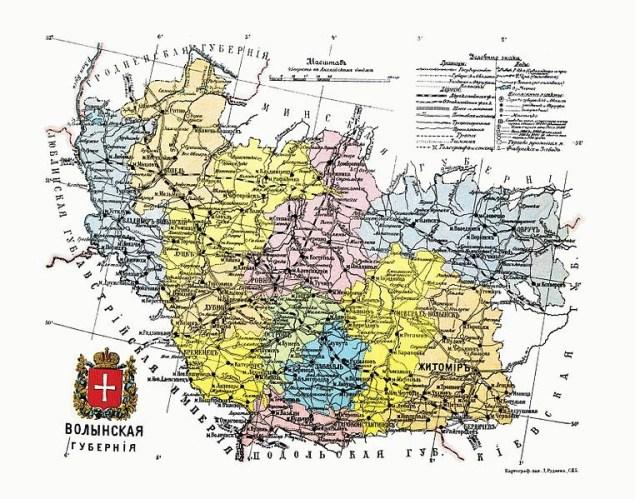 Повіти Волинської губернії в 1911 році
