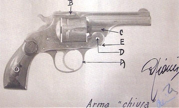 il revolver usato da Antonio Pallante per sparare a Palmiro Togliatti