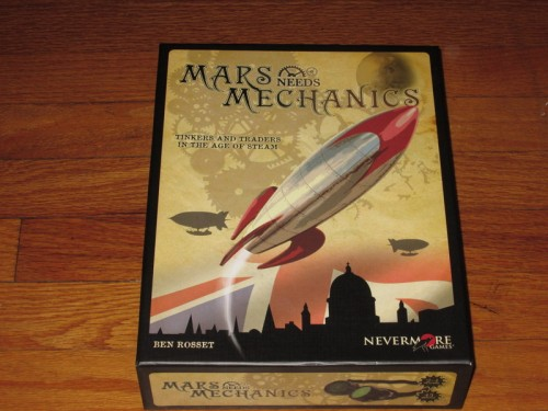 The box for Mars Needs Mechanics