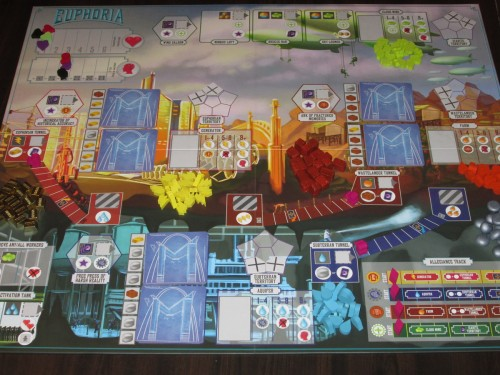 The board setup for four players. It's a little busy.