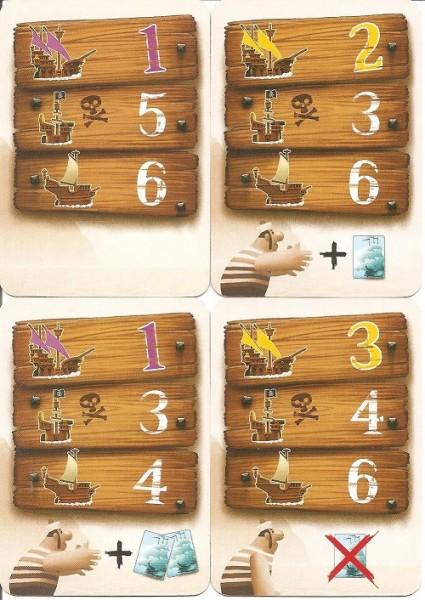 Movement cards for navigation. Do you want to sail far and lose a fortune card? Or give up some movement to grab a couple cards?