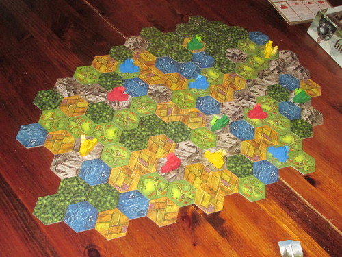 Barony set up for four players. The map looks big, but it's less open than you might think.