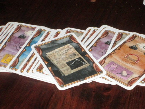The crash card is shuffled with three random stock cards to form the bottom of the deck. As the deck is depleted, players feel the tension that the game could end at any moment.