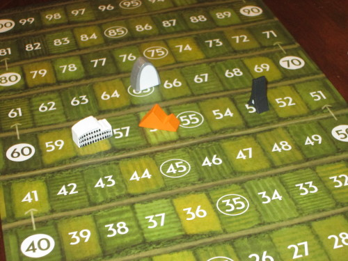 The scoreboard. In this game, the player who sat between the Colosseum city and the Gateway Arch city won because he had the highest lowest city (Colosseum).