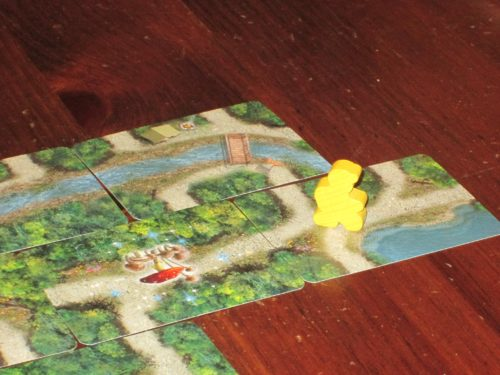 Yellow is on the cusp of victory but has drawn a water card and must stop. So close to sweet, sweet victory! Can the other players overtake her in time? They'll have to push their luck to find out.