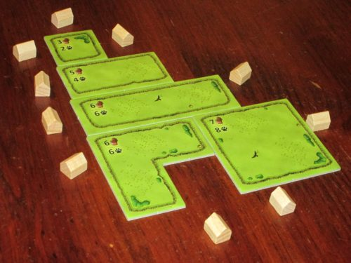 Unlike the full Agricola game, in the Family Edition, pastures of various sizes can be built and added to your farm just by paying the price indicated. This makes things much simpler.