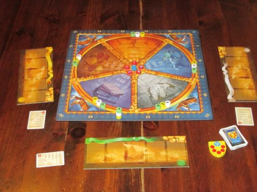 The game setup for three players. Even though I don't recommend the game with three, it's a lot easier to set up a photo with three than with six.
