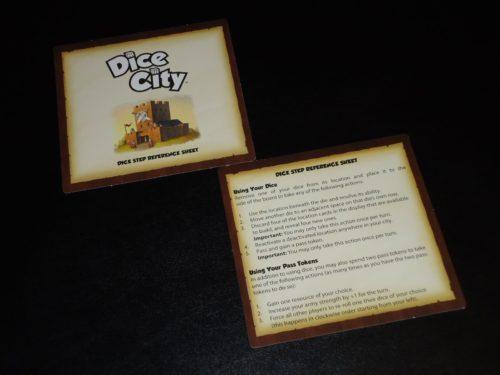 Dice City Player Aids