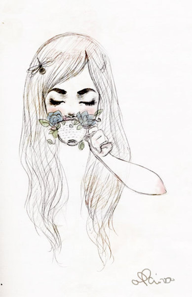 Image result for girl with tea tumblr