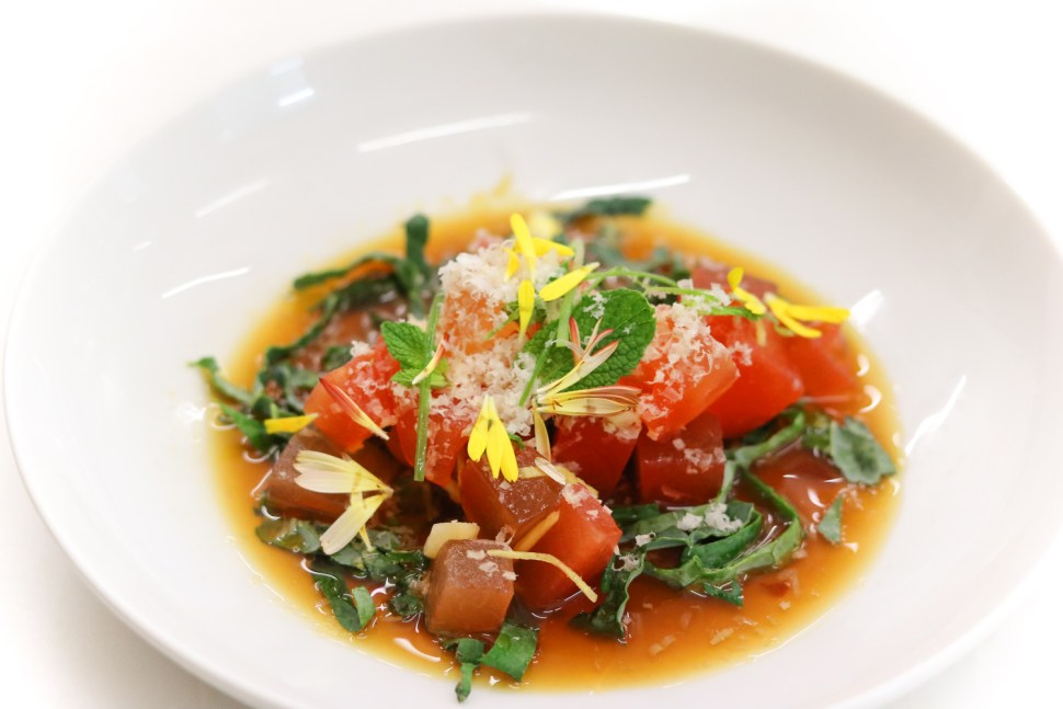 Watermelon Poke w/ lime-ponzu, macadamia, pickled ginger & mint