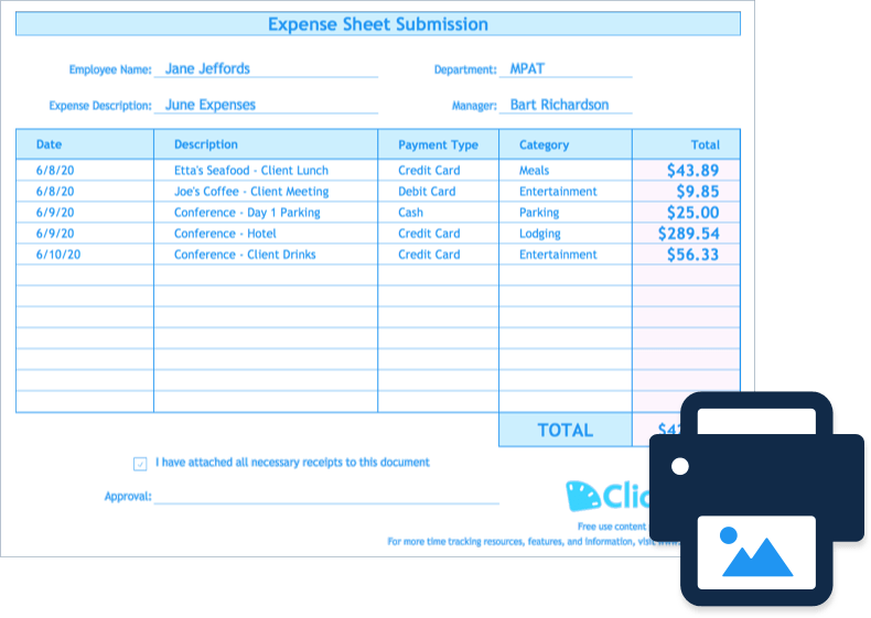 10 expense report template monthly weekly printable format. Expense Report Template Track Expenses Easily In Excel Clicktime