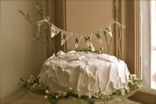 Rustic Wedding Cake Toppers   Rustic Wedding Chic banner cake topper