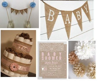 Burlap Baby Shower Decorations - Rustic Baby Chic