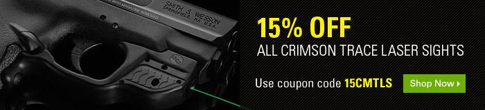 15% off ALL Crimson Trace Laser Sights