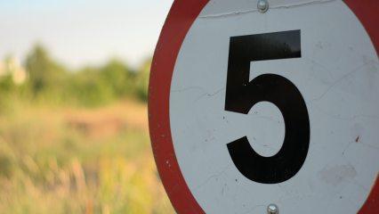 5 mph road sign