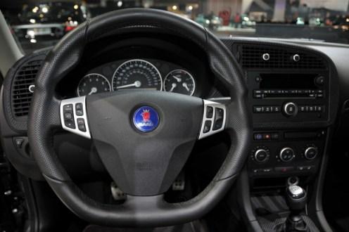 Desempenho Hirsch Saab 9-3 volante desportivo, painel de couro de carbono