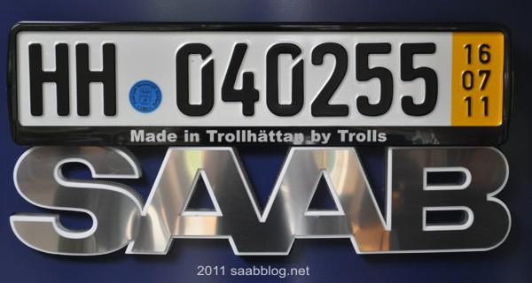 "Saab license plate holder ""Made in Trollhättan by Trolls"""