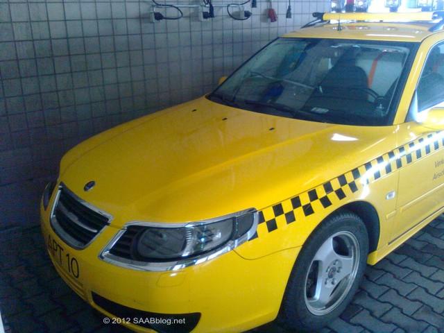 Saab 9-5 wrijvingstester, Chrome-bril, luchthaven van Frankfurt
