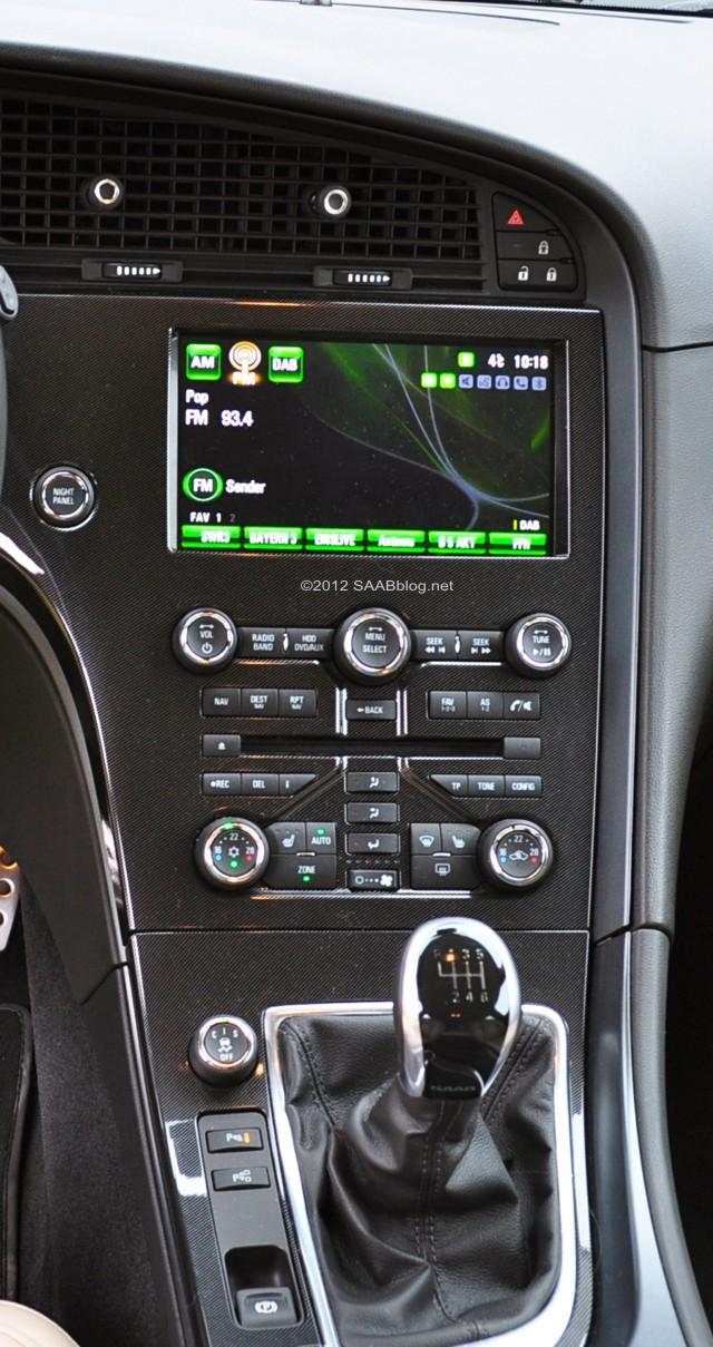 Saab 9-5, Modelljahr 2012 Mittelkonsole
