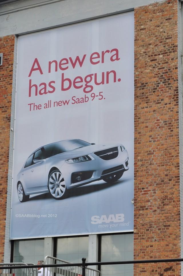 Bild aus besseren Tagen: Werbung am Saab Museum 2010