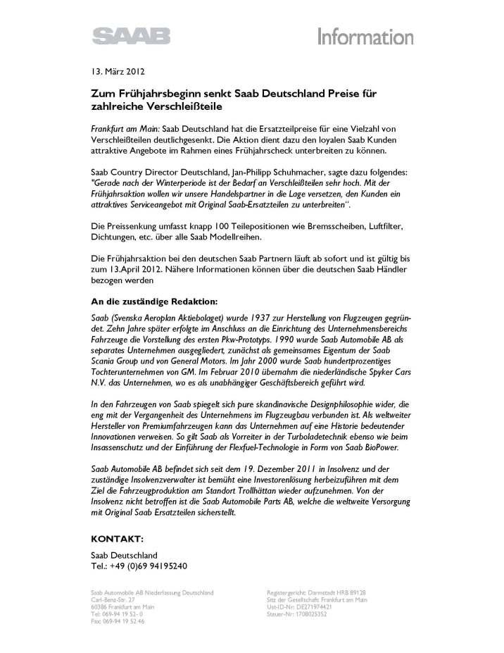 Saab Pressemitteilung Frühjahrsaktion 2012
