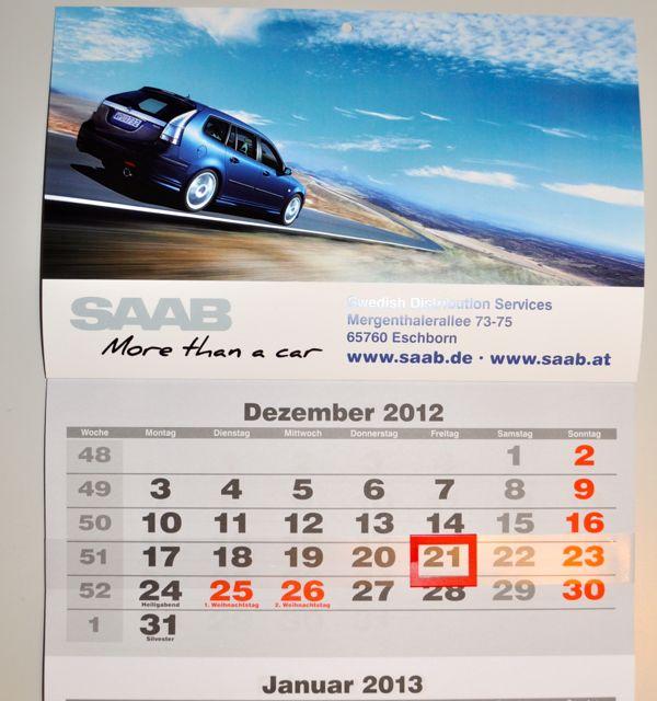 Eccolo: il calendario Saab 2013