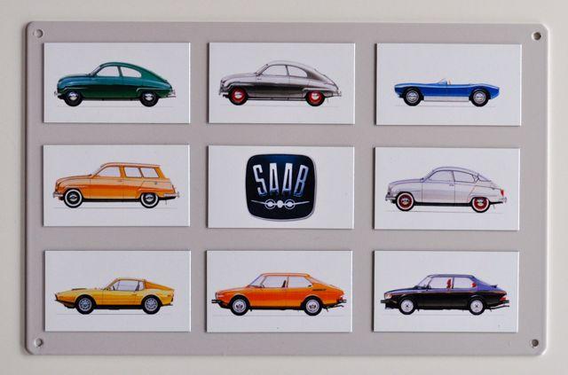 Saab Magnete auf Saab Blechschild