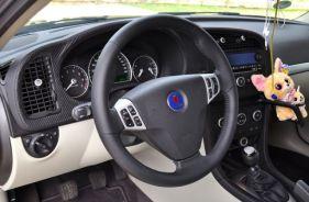 لوحة تحكم هيرش مع جلد الكربون وجريبي عجلة القيادة الرياضية من ساب توربو X.