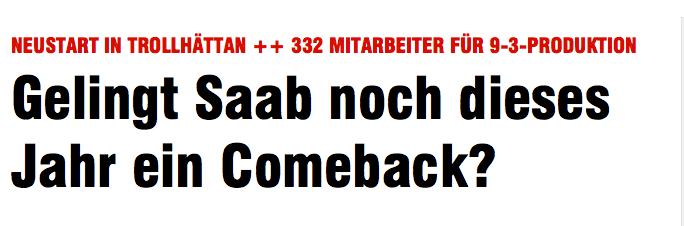 Wir kommen zurueck: Saab auf Bild.de