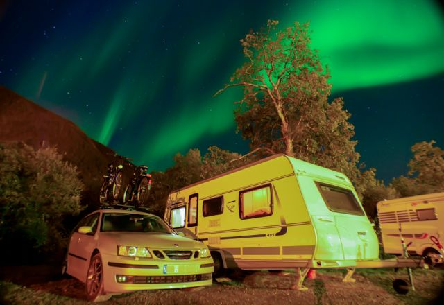 Saab 9-3 in the northern lights