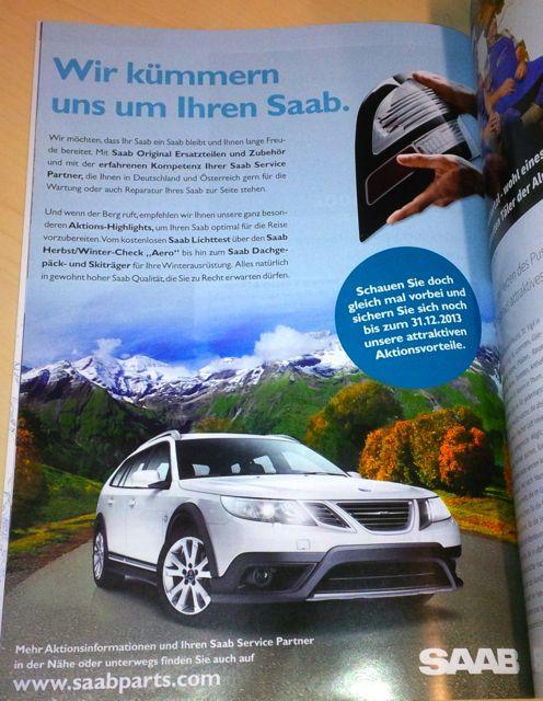 Saab Werbung. Wir kuemmern uns um Ihren Saab