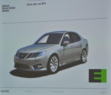 Den gröna skylten för elektriska Saabs