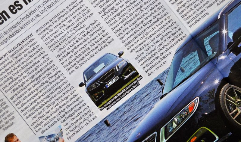 "Traje deportivo Saab 9-5 NG de Markus Lafrentz. El próximo fin de semana en vivo en ""Pilots wanted 2104"""