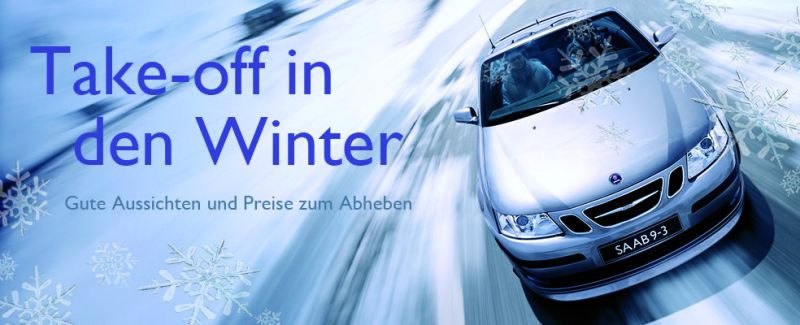 Take off in the winter. Saab action Switzerland