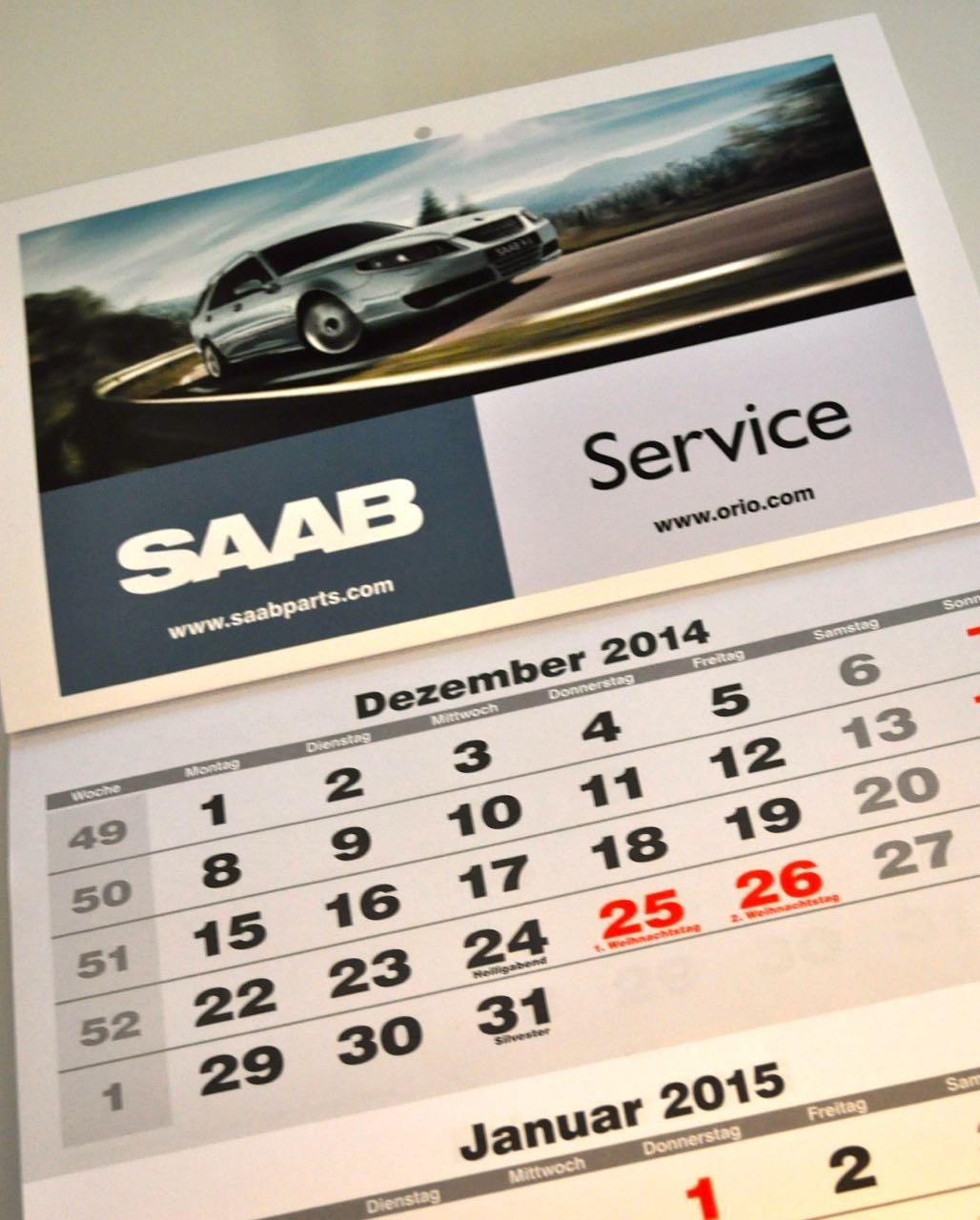 Saab Kalender 2015 der Orio Deutschland GmbH