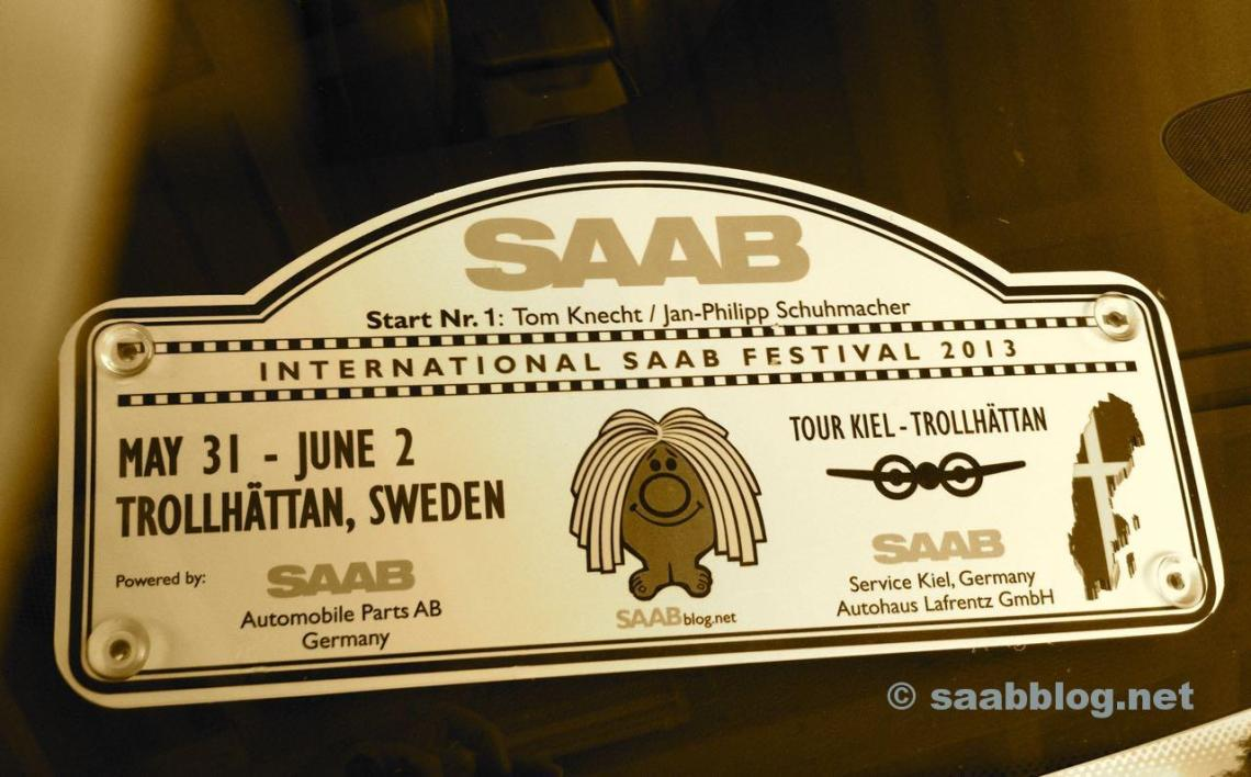 Saab Tour Kiel Trollhattan. Rallye Plate 2013