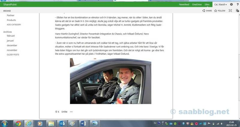 Screenshot from an article on the NEVS intranet covering our visit