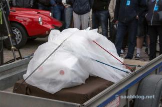 The new SAAB still under the covers