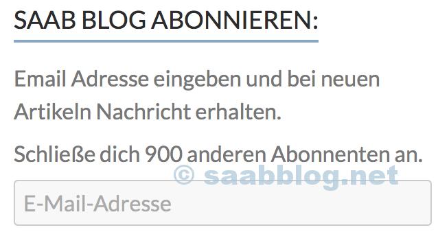Saab Blog: 900 Abonnenten