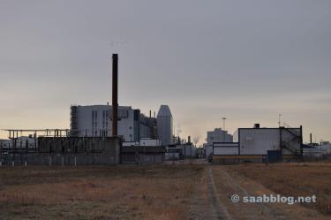 Saab Werk in der Morgensonne.